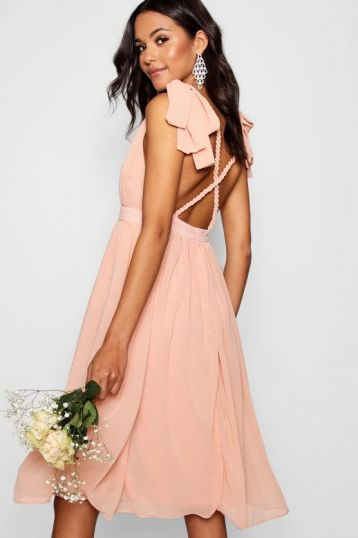 Boohoo Chiffon Pleated Midi Dress Pale Pink