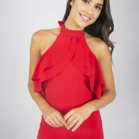 Chi Chi Osia Frill Jumpsuit Red