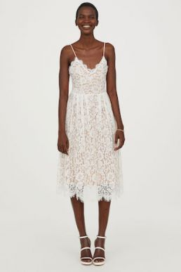 H&M Midi Lace Dress White Nude