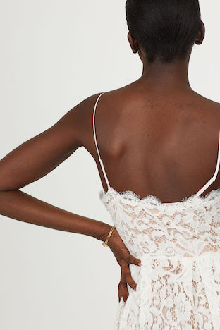 7687ad80ca25 H&M Midi Lace Dress, White/Nude   myonewedding.co.uk
