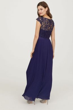 H&M Lace Pleated Maxi Bridesmaid Dress Dark Blue