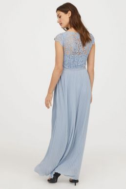 H&M Lace Pleated Maxi Bridesmaid Dress Lilac Pale Blue