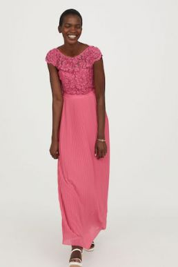 H&M Lace Pleated Maxi Bridesmaid Dress Pink