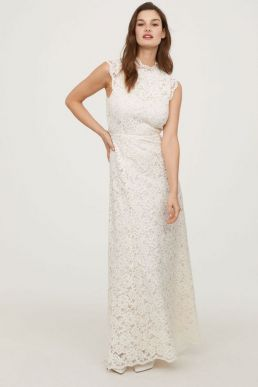 H&M Long Lace Bridal Dress White