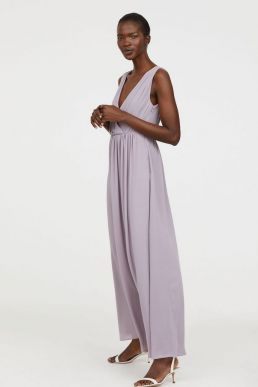 H&M V-Neck Bridesmaid Maxi Dress Lilac