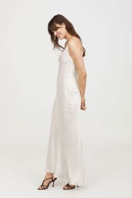 H&M Sleeveless Long Slip Bridal Maxi Dress White