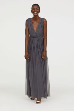 H&M V-Neck Bridesmaid Mesh Maxi Dress Dark Grey
