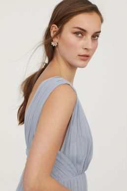 H&M V-Neck Bridesmaid Mesh Maxi Dress Light Blue