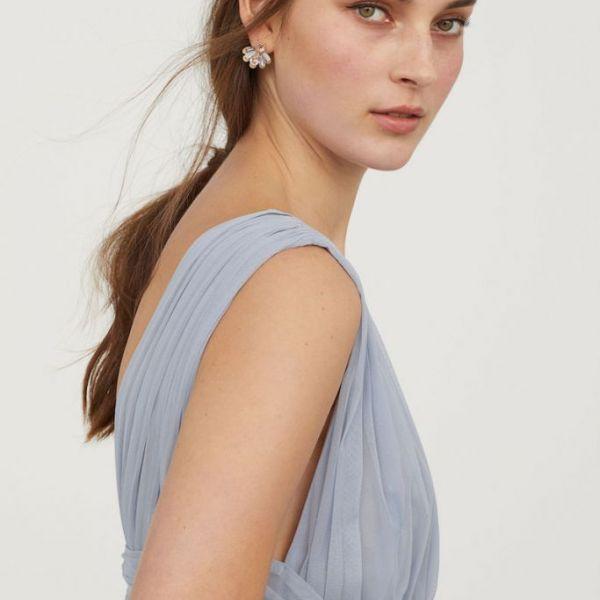 c8d113eb8dd7 H&M V-Neck Bridesmaid Mesh Maxi Dress, Light Blue   myonewedding.co.uk