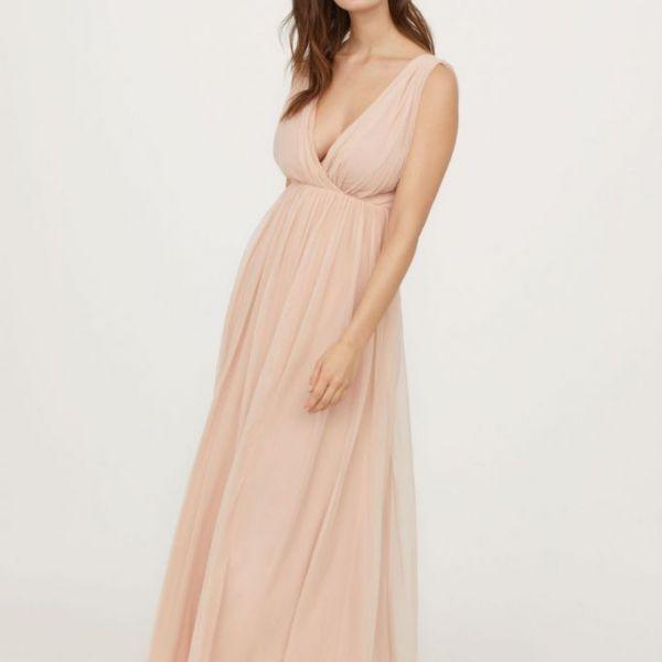 6632df177d72 H&M V-Neck Bridesmaid Mesh Maxi Dress, Pink   myonewedding.co.uk
