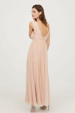 H&M V-Neck Bridesmaid Mesh Maxi Dress Powder Pink