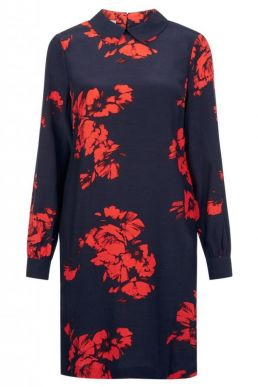 Hobbs Paula Floral Print Dress Red Navy
