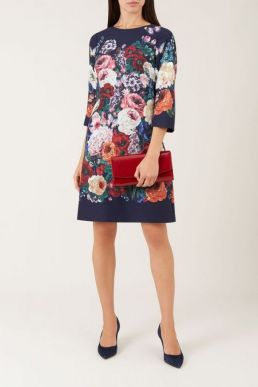 Hobbs Anoushka Floral Print Sleeve Dress Navy Multi