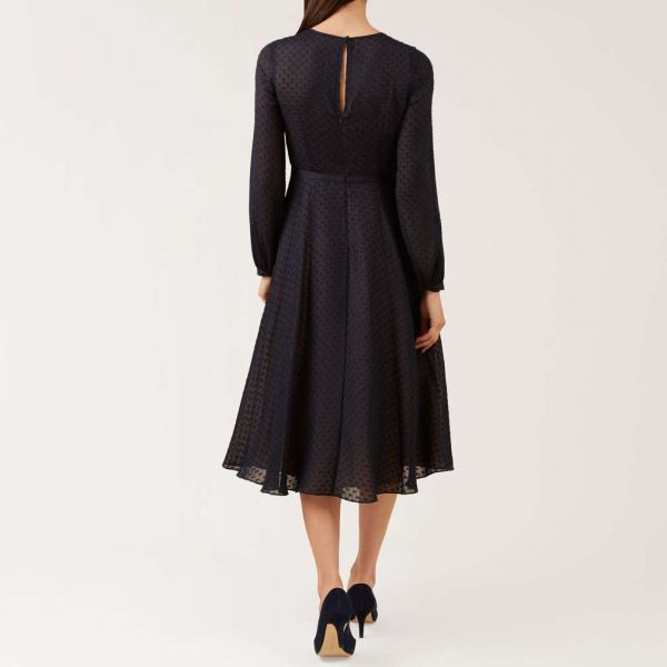 Hobbs Claudette Sleeve Dress Navy