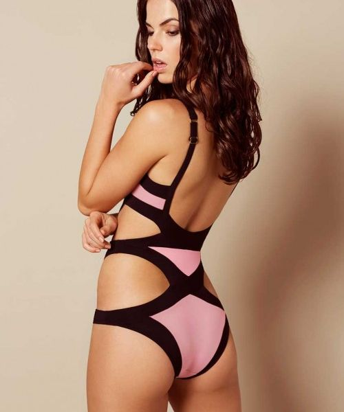 Agent Provocateur Mazzy Swimsuit Baby Pink And Black  8b8ce8fe9