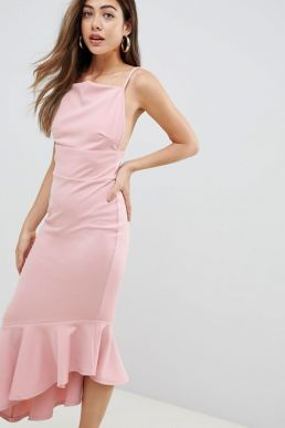 Missguided Scuba Crepe Strappy Maxi Dress Pale Pink