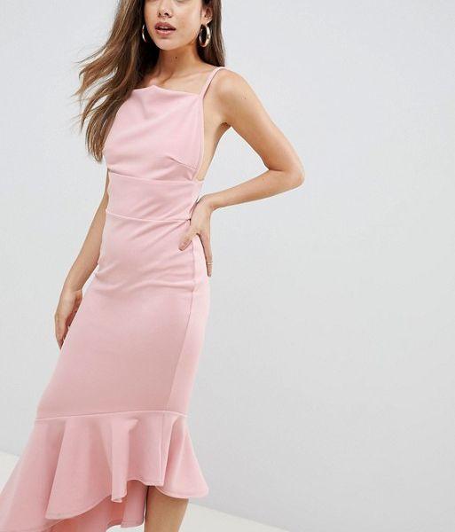 438dce6e061 Missguided Scuba Crepe Strappy Maxi Dress Pale Pink. Missguided Scuba Crepe  Strappy Maxi Dress Pale Pink