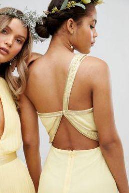 TFNC Embellished Maxi Bridesmaid Dress Yellow