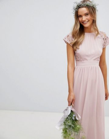 TFNC Maxi Bridesmaid Dress Scalloped Lace Pink Mink