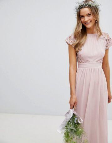 TFNC Maxi Bridesmaid Dress Scalloped Lace Pink Mink