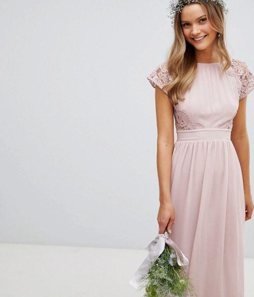 TFNC Maxi Bridesmaid Dress Scalloped Lace Pink Mink ... 88fee9517