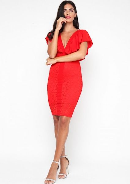 Tfnc samuella midi shift dress red for Red midi dress wedding guest