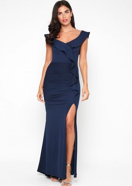 unequal in performance detailed look many fashionable TFNC Zula Ruffle Maxi Dress, Navy