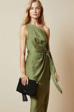 Ted Baker GABIE One Shoulder Drape Midi Dress khaki Green