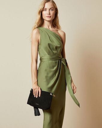 Ted Baker GABIE One Shoulder Drape Midi Dress khaki Green