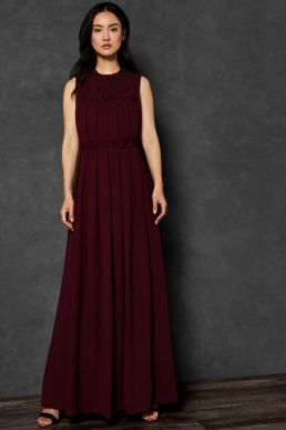 Ted Baker SAFFROM Origami Folded Maxi Dress Maroon
