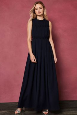 Ted Baker SAFFROM Origami Folded Maxi Dress Navy