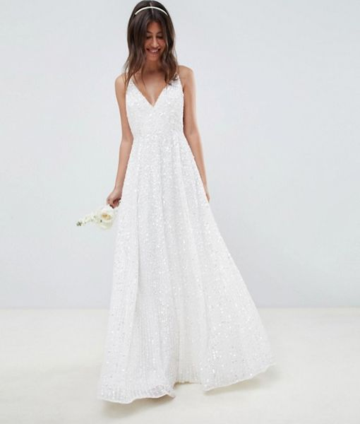 a776579624e ASOS EDITION sequin cami wedding dress