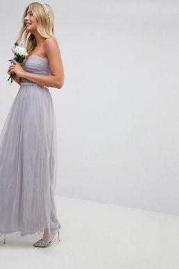 ASOS DESIGN Bridesmaid mesh embellished maxi dress Lilac