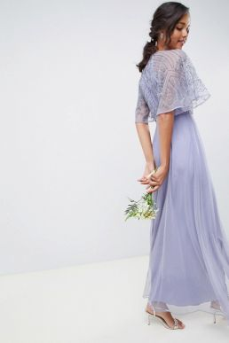 ASOS DESIGN bridesmaid embellished angel sleeve maxi dress Lilac