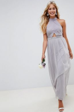ASOS DESIGN Bridesmaid mesh embellished maxi dress Lilac