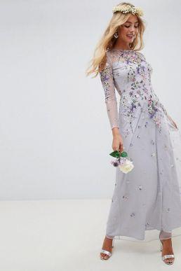 ASOS DESIGN Bridesmaid sleeve embroidered maxi dress Lilac Multi