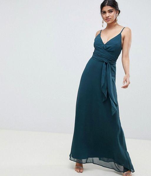 2b178c39fcc73 ASOS DESIGN cami wrap maxi dress with tie waist Forest Green. ASOS DESIGN  cami wrap maxi dress with tie waist Forest Green