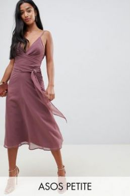 ASOS DESIGN Petite cami wrap tie midi dress with tie waist Mauve