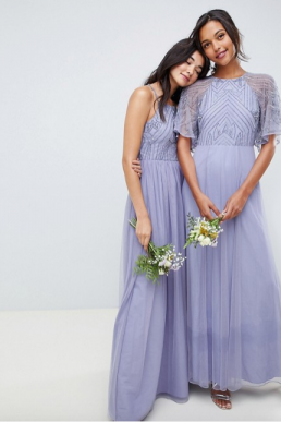 ASOS DESIGN bridesmaid embellished strappy maxi dress Lilac