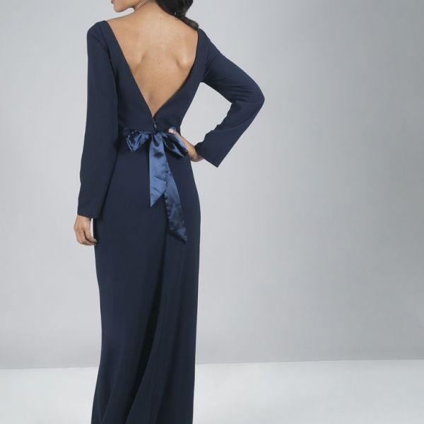 7a6574525c48f Chi Chi Carolina Maxi Bow Dress, Navy   myonewedding.co.uk
