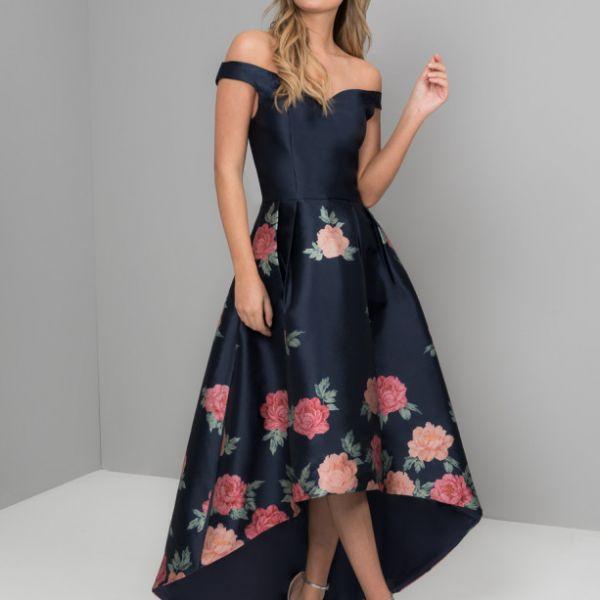 Chi Chi Hazel Floral High Low Dress Navy Multi