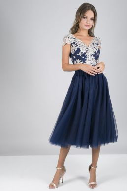 Chi Chi Joan Lace Dress Navy