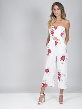 Chi Chi Saffie Floral Jumpsuit White Multi