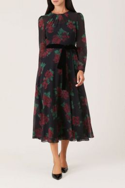 Hobbs Lolita Rose Print Dress Black Red
