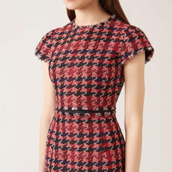 Hobbs Angeline Tweed Dress Red Multi