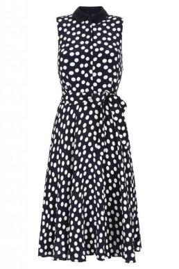 Hobbs Belinda Spot Print Dress White Black