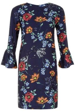 Hobbs Flora Dress Sleeve Dress Navy Multi
