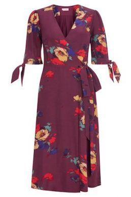 Hobbs Florence Floral Dress Merlot Multi