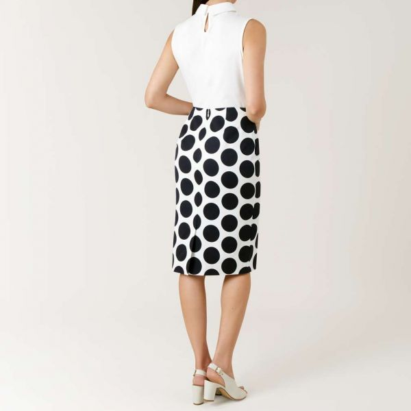 Hobbs Lorna Spot Skirt Navy White