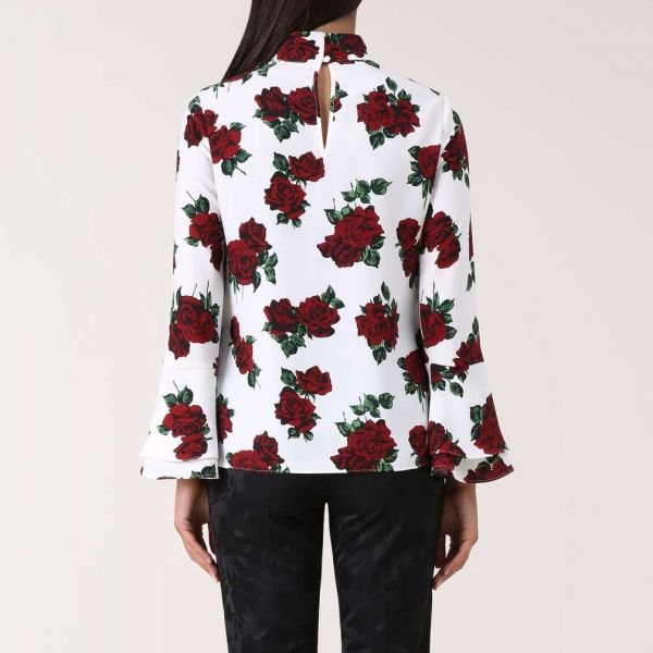 Hobbs Cora Sleeve Rose Print Blouse White Red